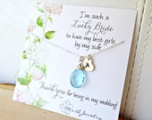 Personalized Bridesmaid Gift, Custom initial & birthstone necklace, Bridesmaid mesage card, bridal wedding jewelry, hand stamped initial tag