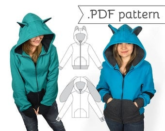 SALE Unisex Men's Fitted Cosplay Hoodie Sewing Pattern .pdf Tutorial Hooded Jacket with Bear Cat Rabbit Fox Ears