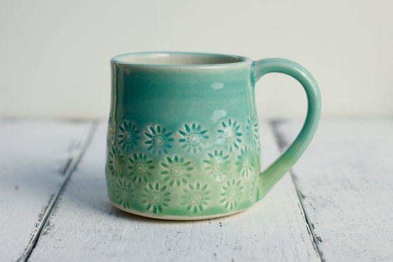 porcelain coffee cup, aqua and green