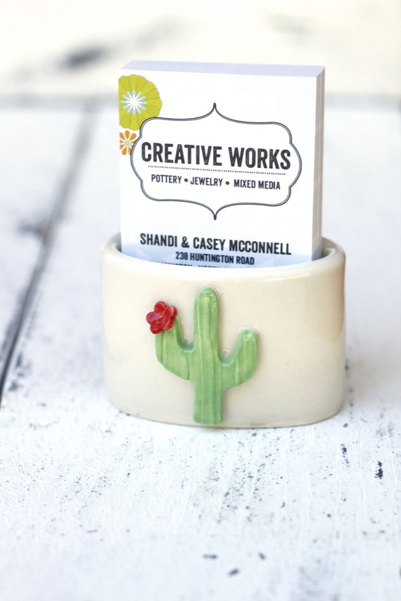 Cactus vertical business card holder