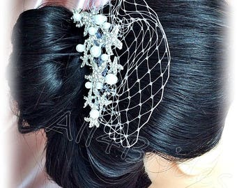Starfish bridal hair comb, rhinestone crystal starfish hair comb, beach wedding starfish bridal hair accessory.