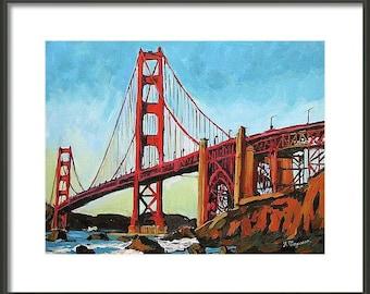 Large Framed San Francisco Art 16x20 Frame, 11x14  Art Print  Golden Gate Bridge red blue Urban Painting by Gwen Meyerson