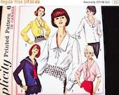 SALE 25% OFF 1960s Blouse Pattern, Plus Size 20 Bust 40, UNCUT Womens Sailor Blouse Pattern, V Neckline Tie Blouse, Ruffle Blouse Sewing Pat