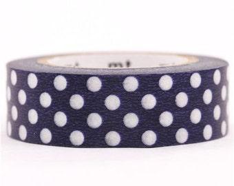 189809 blue mt Washi Masking Tape deco tape with white polka dots