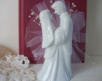 Wedding Cake Topper Porcelain Couple with White Tulle Fabric and Pearl Beads