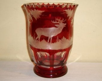 Antique Ruby Glass Vase Deer Buck Stag Forest Trees Cut To Clear Etched Engraved Bohemian Czech Victorian Edwardian Old Elegant
