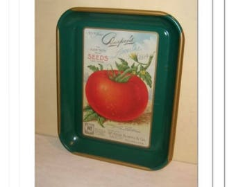 Burpee TOMATO Seed TRAY tin tole metal serving garden kitchen patio decor vintage country chic