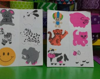 Rare Vintage Fuzzy Stickers includes troll cow tiger
