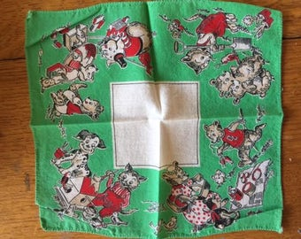 vintage child hanky/handerchief animals