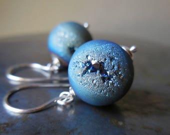 Blue Orbs, Druzy agate earrings, drusy quartz crystal titanium coated sterling silver drop earrings 925 simple gem stone modern urban style