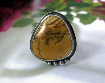 Sterling Silver Ring, Picasso Jasper Statement Ring, Handmade Sterling Silver Jewelry, Large Stone Ring Size 8