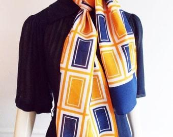 European 1960s orange blue Op Art abstract Scarf/ 1970s geometric scarf/ Modernist scarf