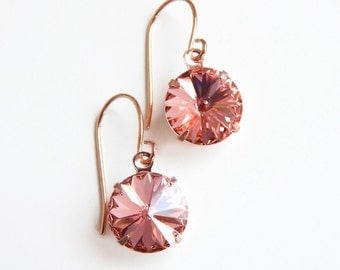 rose gold crystal earrings in peach - peach crystal earrings - blush earrings - peach earrings - rose gold jewelry