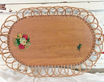 Vintage Rattan Tray