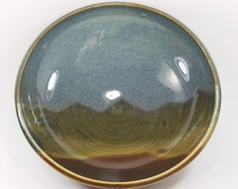 Hand-thrown Blue and Amber Mountain Silhouette Medium Sized Serving Bowl