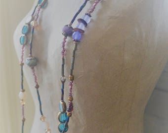 Hand Made Beaded Elegant Boho Necklace - Copper, Brown, Teal, Red, Rose, Pink and Green Hand Beaded Pattern By: Brooke Baker