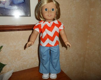 """Doll Clothes  for American Girl Doll or 18"""" doll   Jeans, Top, White Keds by Sophia  Complete Outfit Clemson, Tennessee"""