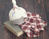 snowman hat with layer piece  // winter hat // newborn photo prop // plaid // baby hat // winter prop // top knot hat // ready to ship