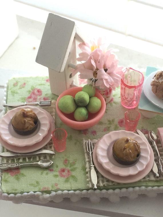 Miniature Spring Apple Pie and Dumplings Dessert Board-1:12 dollhouse scale