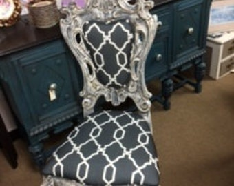Ornate Chair in Grey and Creamy White