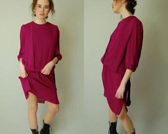 sale 25% off Blouson Drop Waist Dress Vintage 80s Does 20s Plum and Black Slouchy Drop Waist Dress (s m)