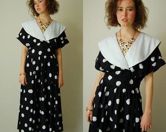 sale 25% off every sunday Black Party Dress Vintage 80s Black and White Avante Garde Graphic Dot CHOON Indie Glam Party Dress (m l)