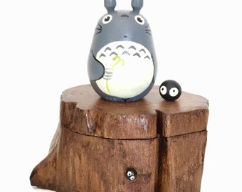 TOTORO Teak Wood Box Studio Ghibli doll figure toy 180