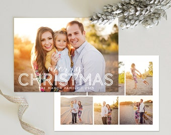 Merry Christmas Card Template #3 for Photoshop: Instant Download