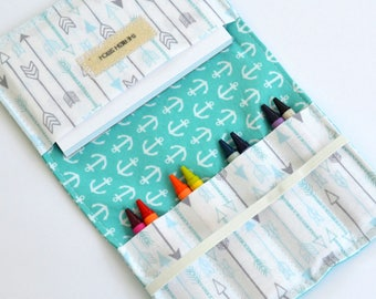Crayon Wallet, Anchors + Arrows, 8 Crayons and Notepad Included, Birthday Party Favor, Kids Wedding Favor, Crayon Roll, Kids Gift Under 15