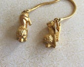 Vintage Lion Gold Tone Sweater Guards Clips retro jewelry