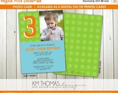 15% OFF Personalized Polka Dot Photo Birthday Invitation : 3rd Birthday Photo Invitation - Polka Dot Boy Birthday Invite - Green and Blue -