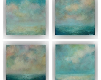 Set of 4 Small Abstract Landscapes- 12 x 12 Blue and White Sky and Clouds Oil Paintings- Original Palette Knife Art on Canvas