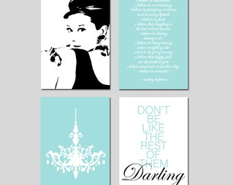 Audrey Hepburn Decor I Believe In Pink Wall Art Set Audrey Hepburn, Chandelier, Don't Be Like The Rest Of Them Darling - CHOOSE YOUR COLORS