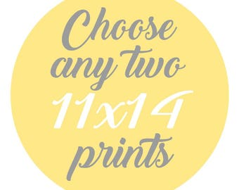 SALE - Mix and Match - Create Your Own Set - Choose Any Two 11x14 Inch Prints for 35 Dollars - You Choose The Prints and Colors