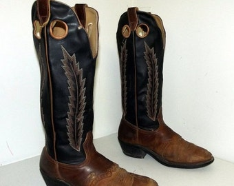 ON SALE Tall Black and brown cowboy boots size 9.5 EEE or cowgirl size 11to 11.5 extra wide width