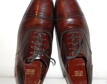 Vintage Nunn Bush Mens Size 12 D Brown Leather Loafers Dress Shoes Laces