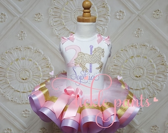 Baby girls 1st birthday outfit - Carousel horse tutu - Pink and lavender purple gold - Includes embroidered top and tutu- Can be customized