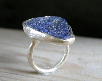 Raw Azurite Sterling Silver Ring. Handcrafted sterling silver ring. Druzy Azurite Ring.