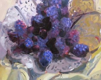 still life oil painting South Carolina artist Linda Hunt - impressionism -  impressionistic - food art - blackberries - still life painting