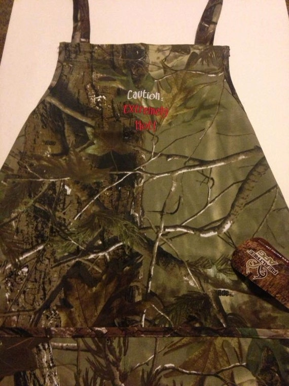 """Camouflage Apron """" Caution: Extremely Hot""""  Fun Camo Gift"""