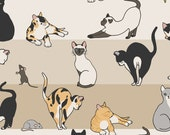 Cool Cats Fabric - Cat Mouse By Figandfossil - Striped Cats Cotton Fabric By The Yard With Spoonflower