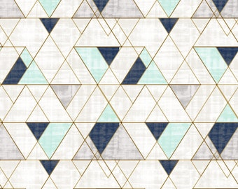Pastel Geometric Fabric - Mod Triangles Vintage Navy Blue Mint Green By Crystal Walen - Cotton Fabric By The Yard With Spoonflower