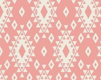 Tribal Geometric Fabric - Aztec - Coral Cream By Bohemiangypsyjane - Southwestern Boho Navajo Cotton Fabric By The Yard With Spoonflower