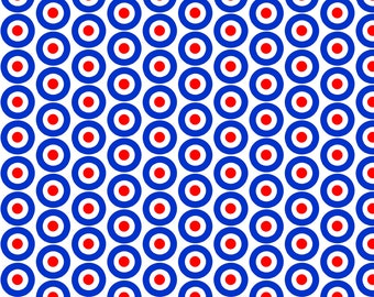 Red White and Blue Mod Fabric - Mod Targets Medium By Louiseisobel - Mod Geometric Circles Cotton Fabric By The Yard With Spoonflower