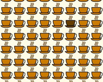 Coffee Cup Fabric - Coffee Cup By Studiofibonacci - Coffee Cotton Fabric By The Yard With Spoonflower