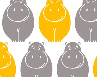 Gray and Yellow Hippo Fabric - Holli Yellow Hippos By Newmomdesigns - Baby Nursery Decor Cotton Fabric By The Yard With Spoonflower