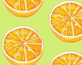 Orange Citrus Fabric - Orange You Glad To See Me By Mezzime - Summer Citrus Fruit Cotton Fabric By The Yard With Spoonflower