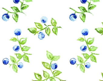 Watercolor Blueberry Fabric - Blueberries By Annahedeklint - Watercolor Summer Fruit Berries Cotton Fabric By The Yard With Spoonflower