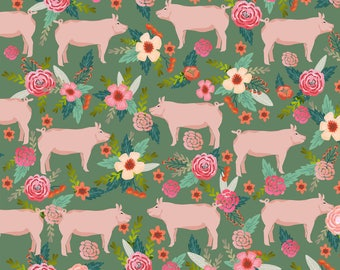 Pig Fabric - Pigs And Florals Farmyard Animals Farm - Medium Green By Petfriendly - Country Farm Cotton Fabric by the Yard with Spoonflower