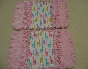 Giraffe burp cloth Baby Shower Gift Spit Rag Pink Baby Girl Burp Cloths with Minky backing